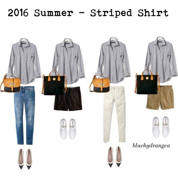 Summer Wardrobe 2016 - Striped Shirt by bluehydrangea on Polyvore featuring Banana Republic, Boden, J.Crew, Superga, Pretty Ballerinas and Dooney & Bourke
