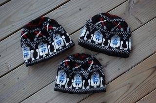 Star Wars fairisles for hats, socks, etc. R2D2 and storm troopers.