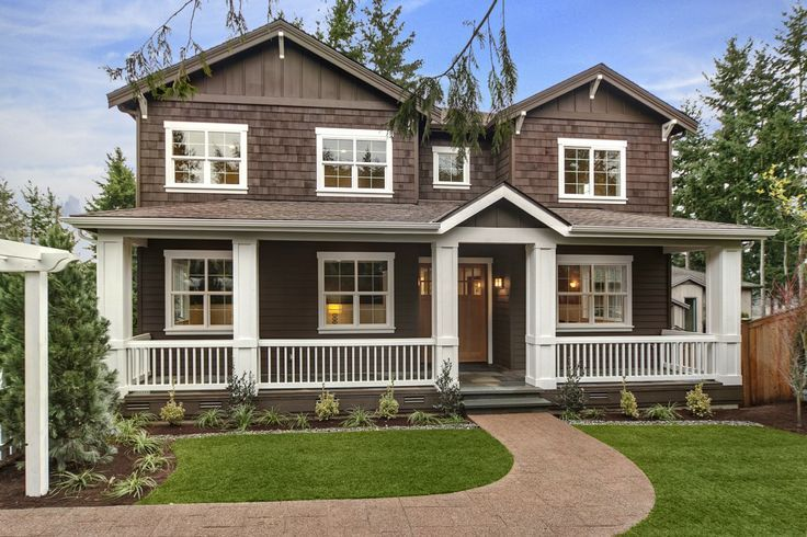 Dark brown house with white trim google search new for Dark brown exterior trim