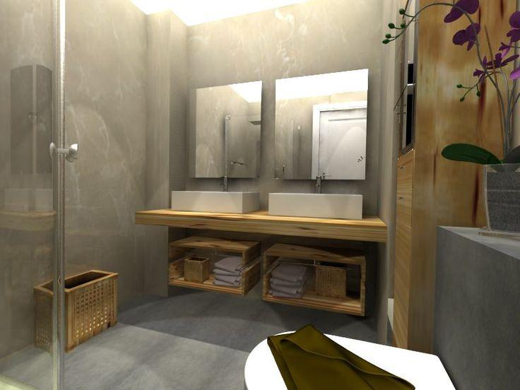 Ba o moderno decoracion via planreforma accesorios for Maquetas de apartamentos modernos