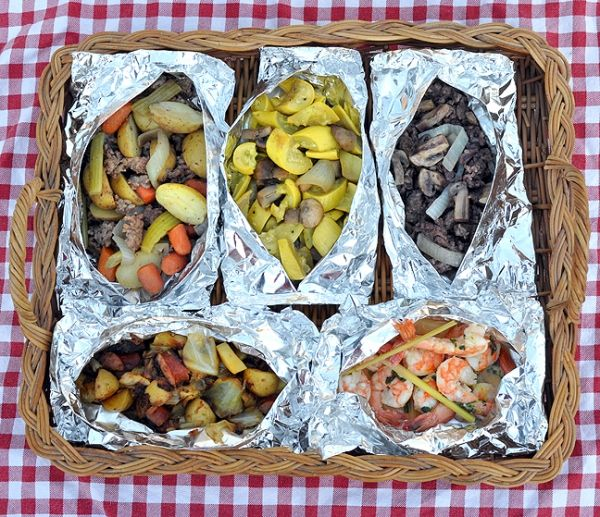 Aluminum Foil Dinner ideas that can be cooked over an open fire in the coals or grilled on the BBQ. Great for Camping or Hunting Camps.