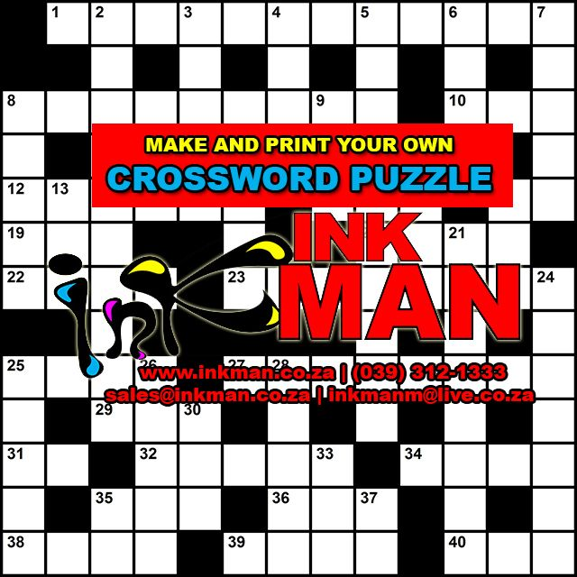 CLICK HERE: Make & #print your own #CROSSWORD #puzzle #INKman #Margate #SouthAfrica #print http://bit.ly/1JZzh0W