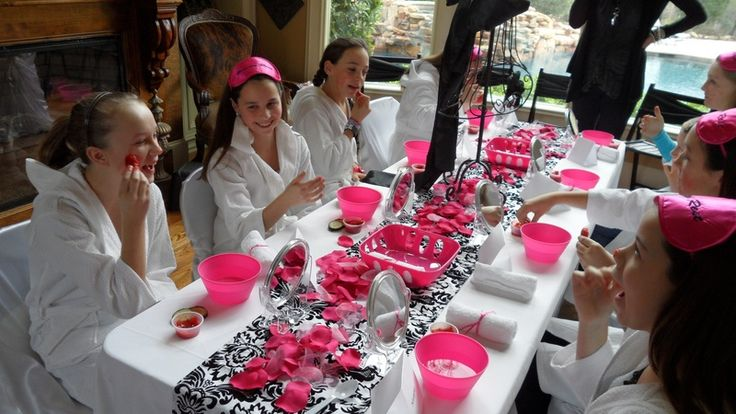 Glam Party: Avenu Party, Spa Day, Birthday Idea, Spa Birthday, Party Idea, Girls Birthday, Spa Party, Pink Black, Birthday Party