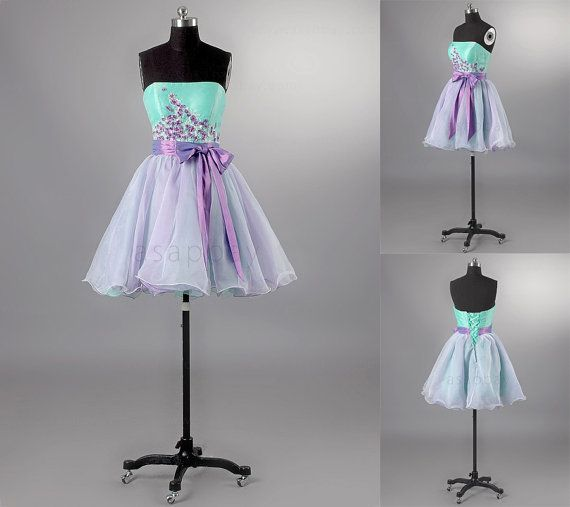 Custom Short Prom Dress Homecoming Dress Two Tone Appliques Bow Sash Cocktail Dress