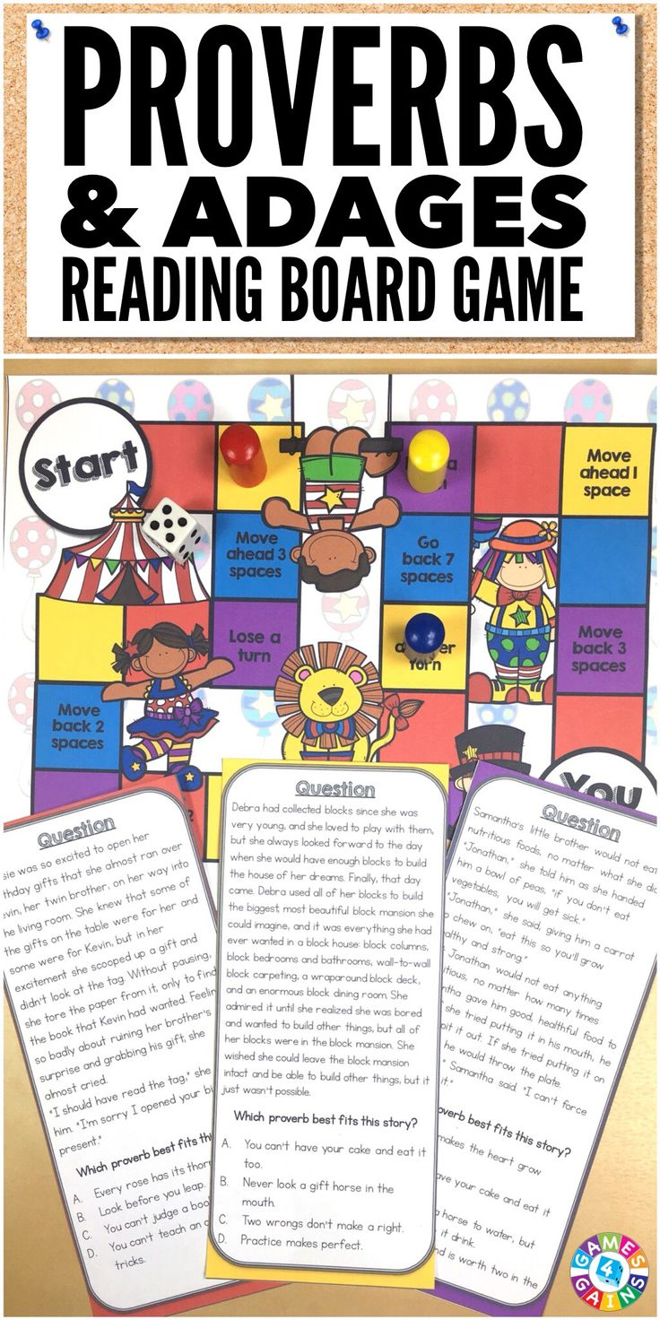"""This proverbs and adages game is a staple in my classroom. Quality content and engaging!""  This Proverbs and Adages Board Game includes 30 multiple-choice game cards for identifying and interpreting common proverbs and adages. Works great for 3rd, 4th, and 5th grades!"