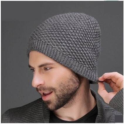Handsome plain beanie hat for men soft wool knit hats autumn
