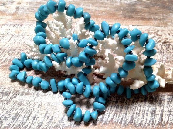TEAL BLUE NECKLACE extra long length resin pebble by MissionDesign