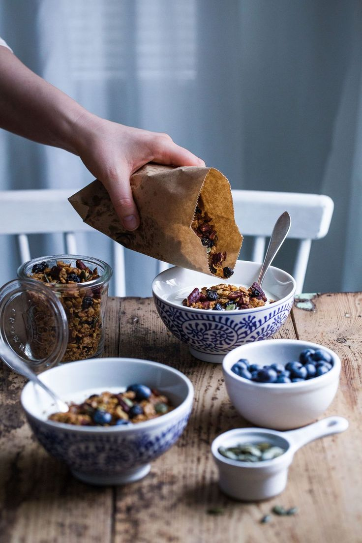 luxurious granola with roasted white chocolate, dried blueberries and pecans.