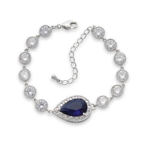 Bridal Bracelet with Blue Crystal for Weddings