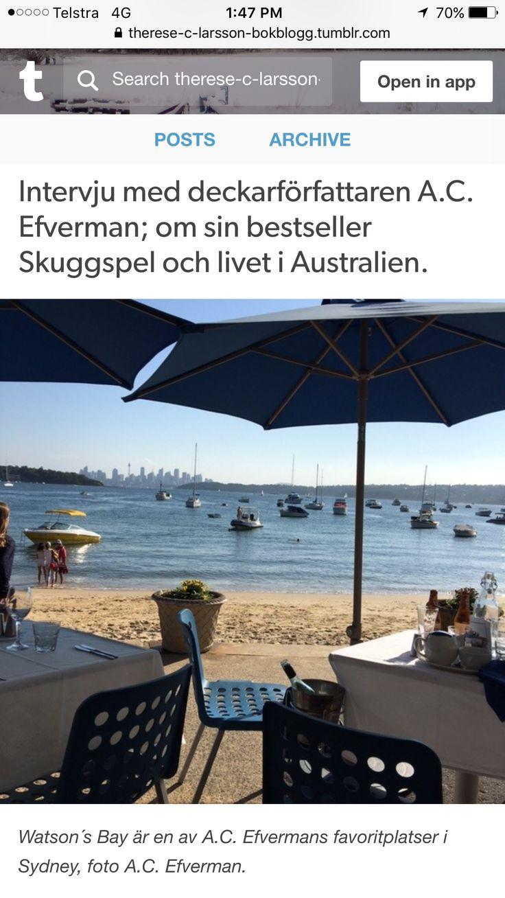 Intervju med svenska deckar-författaren A.C. Efverman - Om hennes bestseller 'Skuggspel' och livet i Australien.  #böcker #deckare #Australien #svensk #författare #kändisar #blogg #lästips #boktips #efverman #sydney