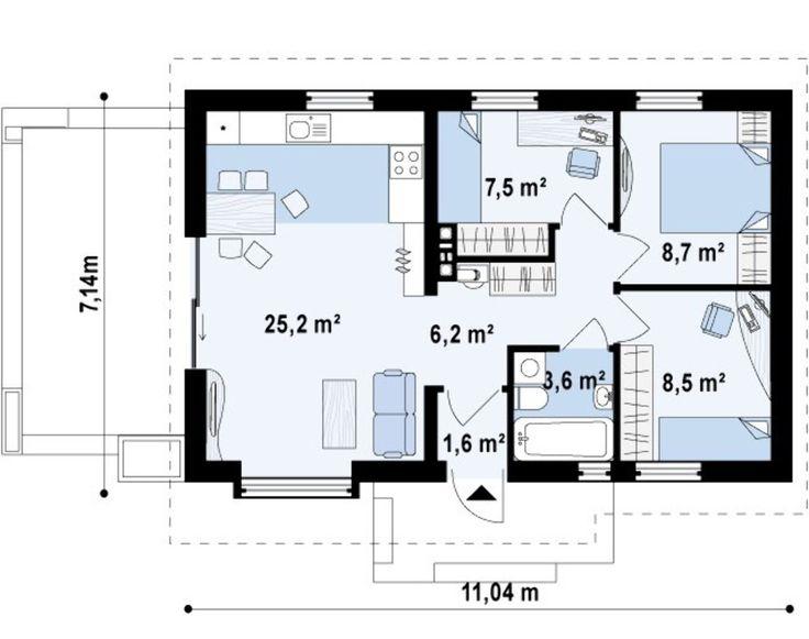 Проект небольшого экономичного одноэтажного дома простой формы, с двускатной крышей - бюджетный вариант, отлично для небольшой семьи!