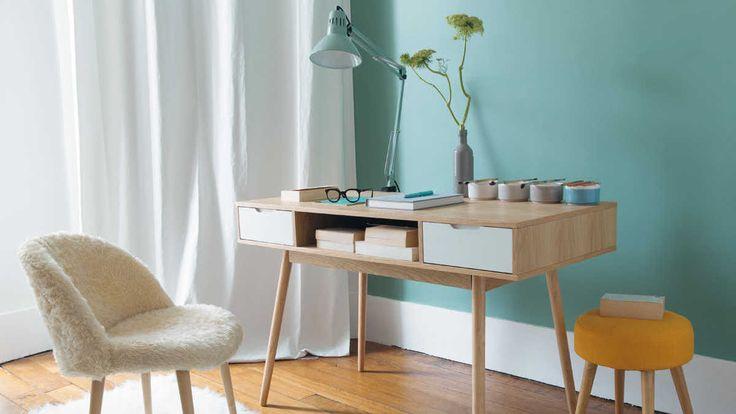 Bureau scandinave bois clair bleu pastel Maisons du Monde