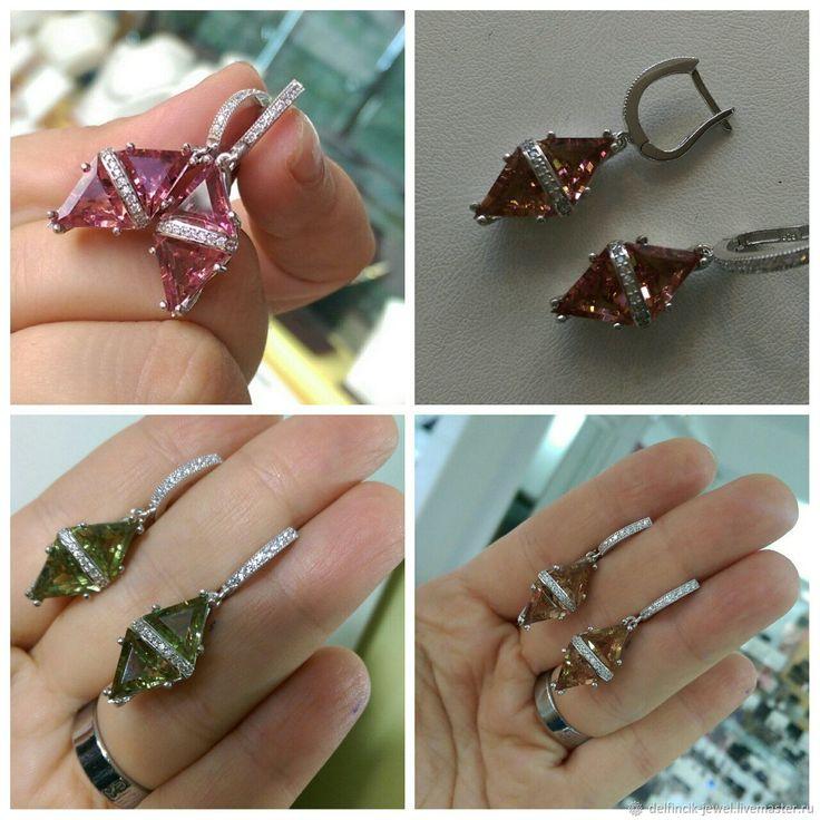 Купить Серьги из серебра с султанитом Необычная геометрия. Серьги в России в интернет магазине на Ярмарке Мастеров