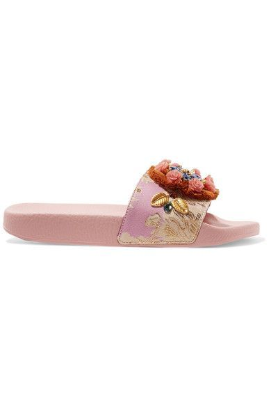 Dolce & Gabbana - Embellished Jacquard Slides - Baby pink - IT36