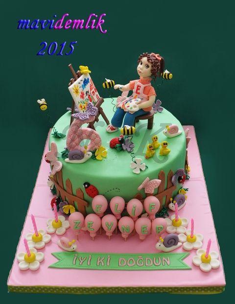 mavi demlik mutfağı- izmir butik pasta kurabiye cupcake tasarım- şeker hamurlu-kur: ELİF ZEYNEP'İN RESSAM TEMALI PASTASI