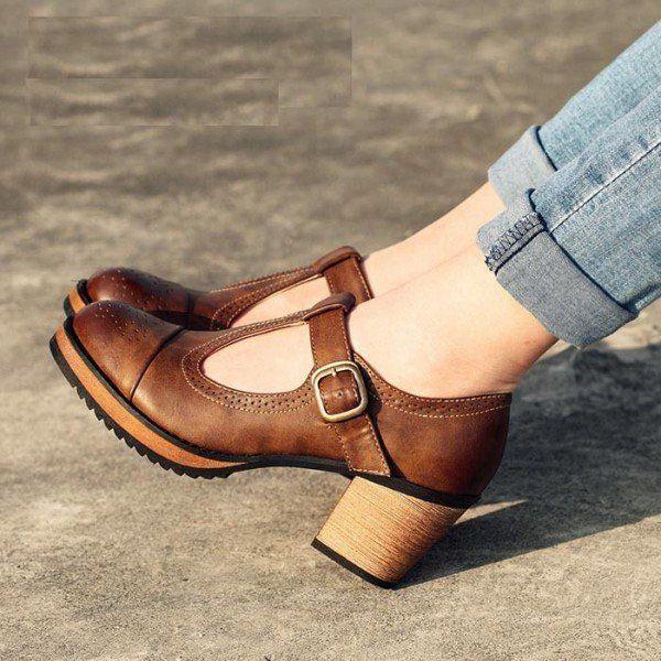 Brown Vintage Heels Mary Jane Pumps T Strap Block Heels