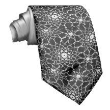 Black  and White Tatted Lace Tie