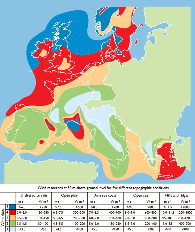 map showing annual mean wind speeds and wind energy resources over europe renewable energy
