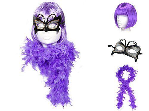Déguisement chic et glamour (KV-06) Ensemble de 3 pièces: Perruque, Boa Plume et Masque beauty life soirée à thème années 20 bal masqué…