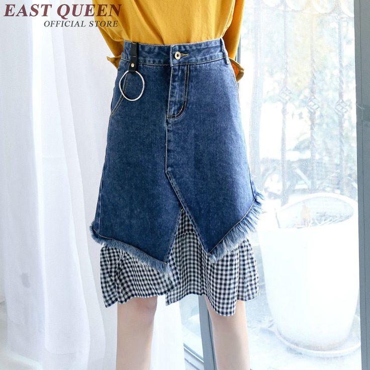 Modny denim spódnice kolano długość kobiece lato denim spódnica midi patchwork z plaid długi jean spódnice KK115 Q