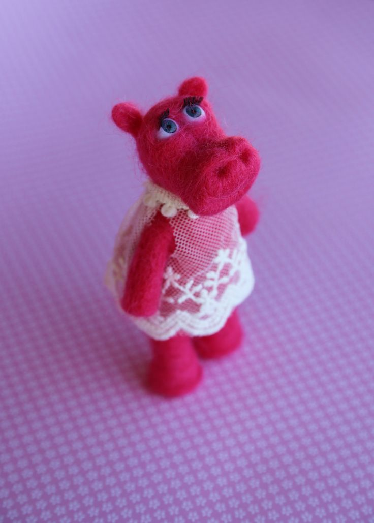Needle felted animals. Cute small hippopotamus with gift box. Miniature animals. Interiors toy. by donidinadya on Etsy