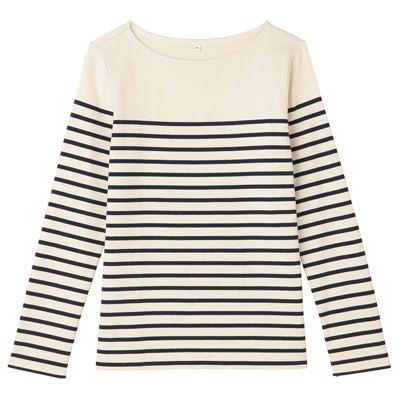オーガニックコットン太番手パネルボーダー長袖Tシャツ 婦人L・生成×ボーダー | 無印良品ネットストア¥3,480