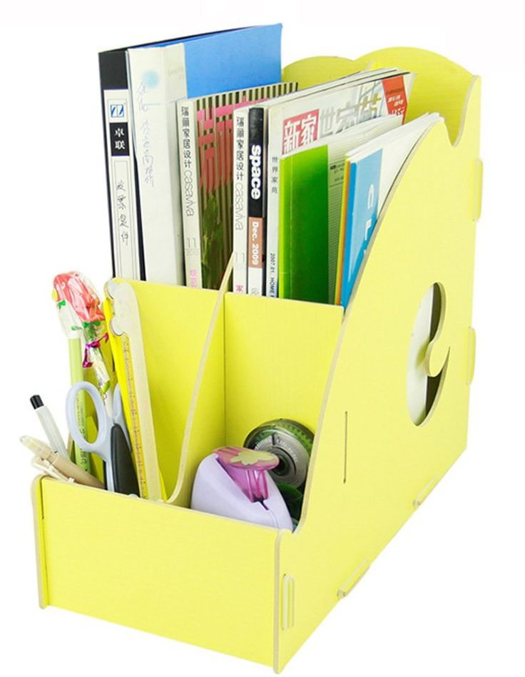 Desk Storage Expander File Holder File Folder Organiser Wooden Magazine  Holder (Yellow)