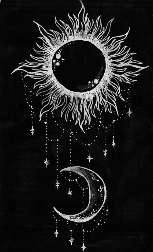 drawing art hippie boho moon stars sun Spiritual