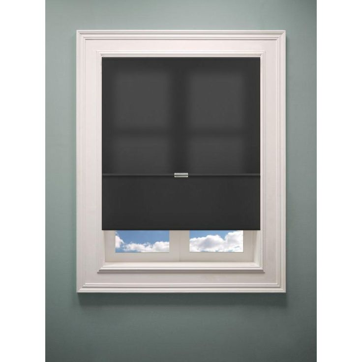 2nd bedroom - Chicology Cordless Allure Granite Fabric Roman Shade - 36 in. W x 64 in. L-RMAG3664 - The Home Depot