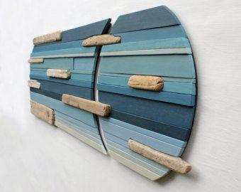 Grote Wall Art | Hout van kunst aan de muur | Hout Sculpture | Wall Art | Home Decor | OfficeArt | Moderne kunst | Drijfhout | Blauw | Abstracte |