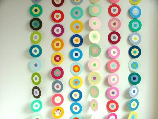 paint chip garlands... could also do with scrapbook paper.