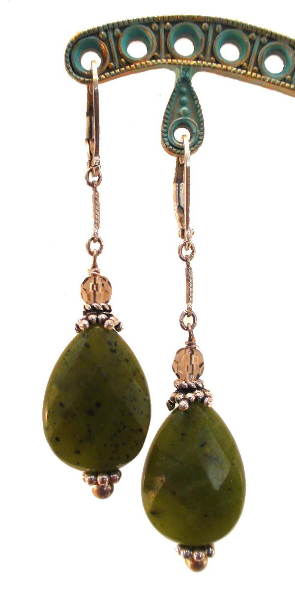 Jade and Smoky Topaz Earrings
