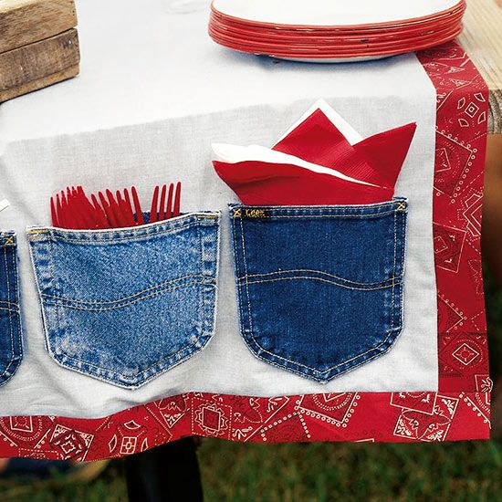 This cute table runner does double duty as a party decoration and part of the buffet line. How to Make It: Add some country flair to a plain white table runner by cutting 2-inch-wide strips of red Western-style fabric and sewing them along the border. Cut out back pockets from old pairs of blue jeans. Attach pockets to the table runner with a hot-glue gun to create pouches that can hold straws, plastic tableware, and napkins./