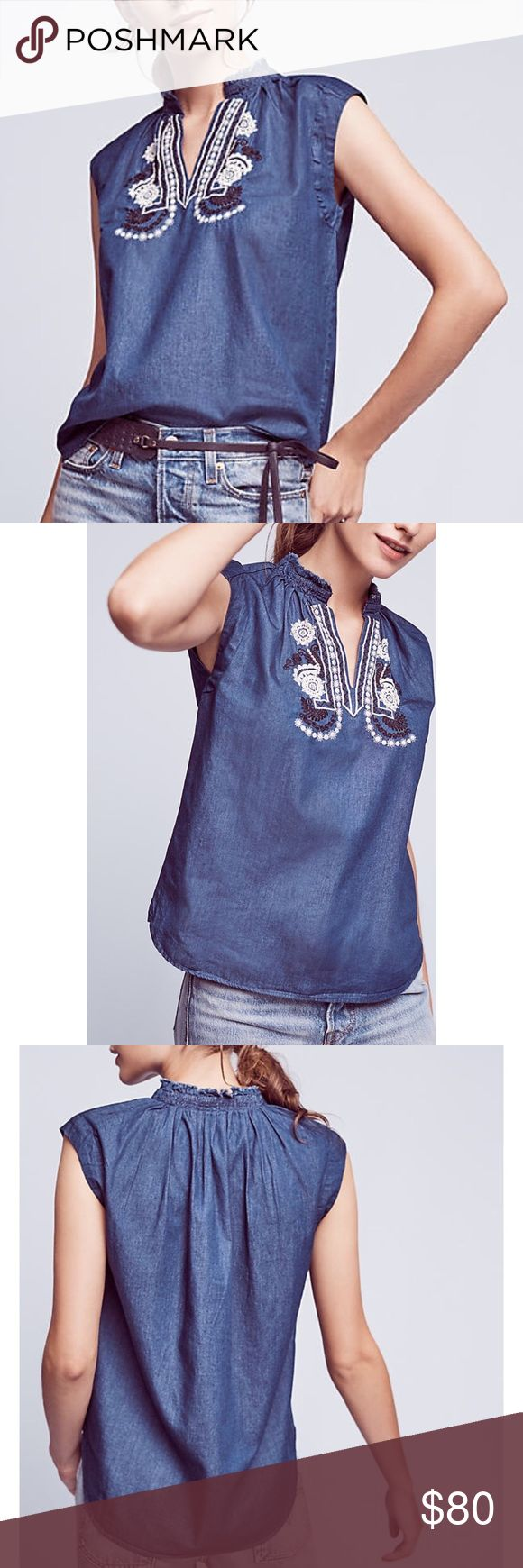 """Anthropologie Embroidered Chambray Top Anthropologie Ne Quittez Pas Embroidered Chambray top. Light weight 100% cotton chambray. Embroidered detail on front. Ruched neckline. Sleeveless. Rounded hem slightly longer in back. Underarm to underarm 20"""", length 25""""-27"""". Anthropologie Tops"""