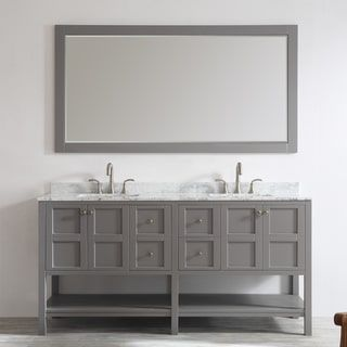 Florence 72-inch Grey Double Vanity with Carrera White Marble Top with Mirror