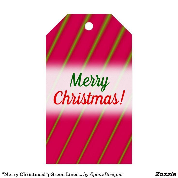 """Merry Christmas!""; Green Lines on Crimson Pattern"