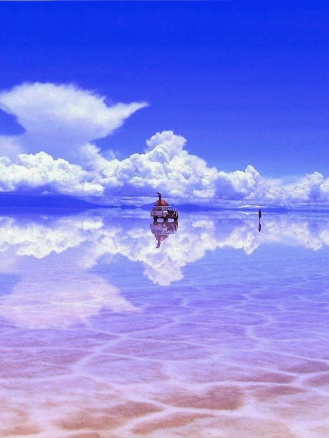 Salar de Uyuni, Bolivia: World's largest salt flat - becomes a reflection during rainy season
