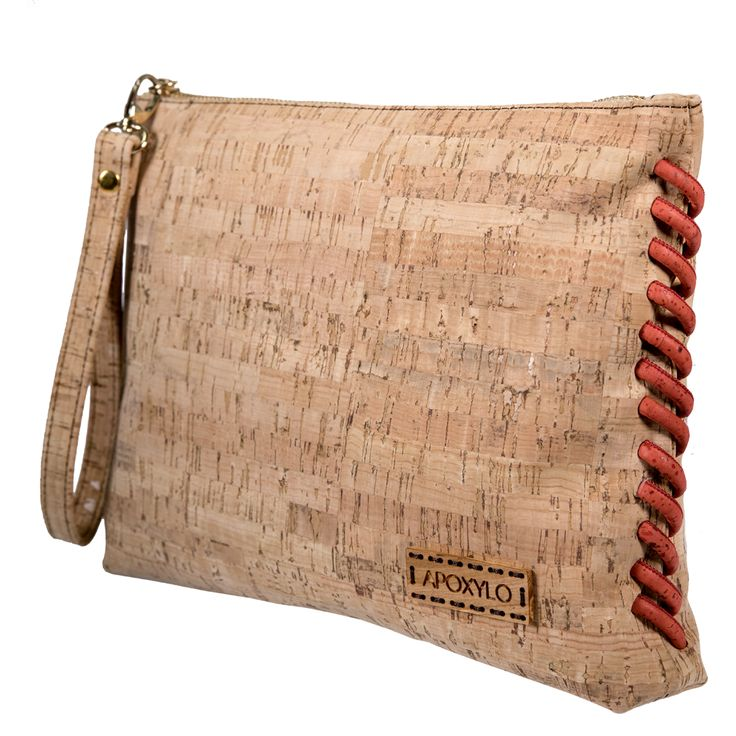 Maxi pochette with Natural Cork and Red Cork Cord !! Shop online www.apoxylo.gr