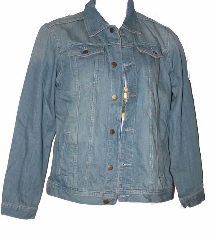 Oversized Boyfriend Button Down Denim Jean Jacket Light Blue Wash XL Extra Large | eBay