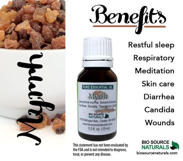 Myrrh (Commiphora myrrha) Pure Essential Oil - Therapeutic Quality 1 fl oz (30 ml) Description: Warm, sweet, balsam, amber, spicy. Spiced wood aroma calms the nerves and fosters tranquility. Purifying
