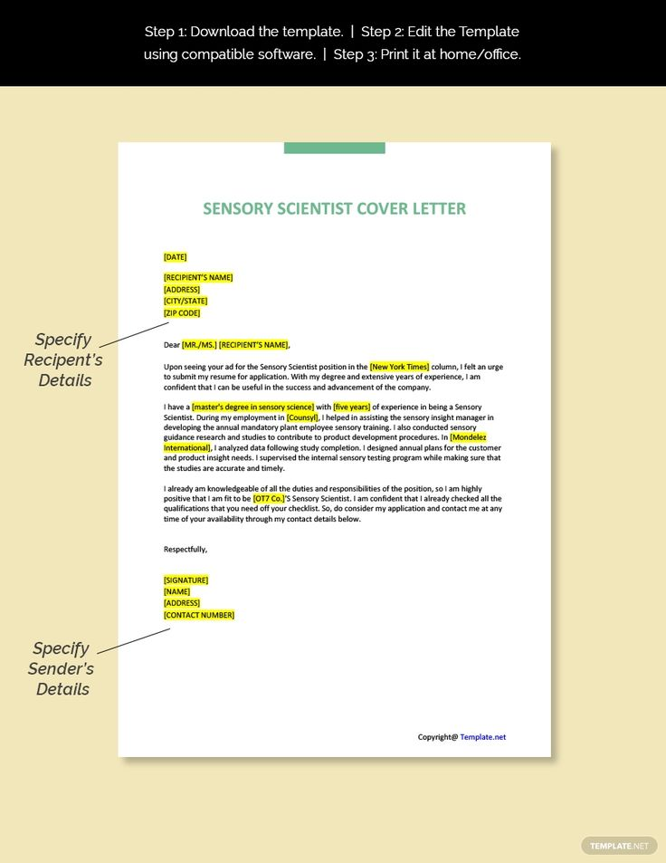 Free sensory scientist cover letter template in 2020