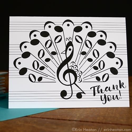 This pretty peacock is made entirely of music notes and symbols.Staff lines wrap around the back of the card; space to compose your own personal musical message! Copyright ©2016 Erin Heaton.