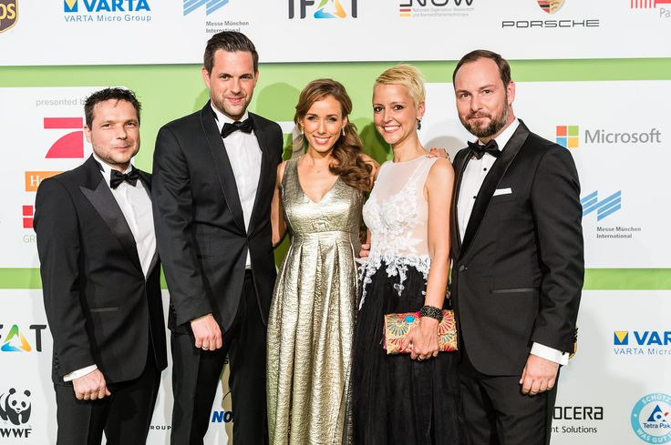 The hosts with the presenters of the ceremony, from left to right: Sven Krüger, Matthias Killing, Annemarie Carpendale, Alexia Osswald, Marco Voigt