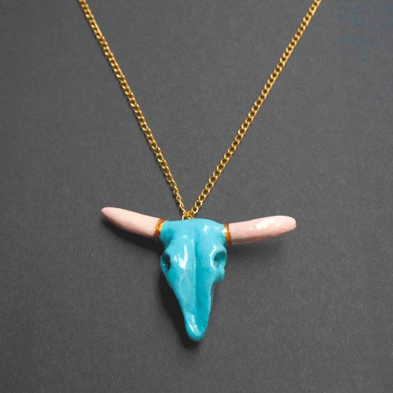 bull skull necklace craneo de toro collar hecho a by OhMyGodJewels