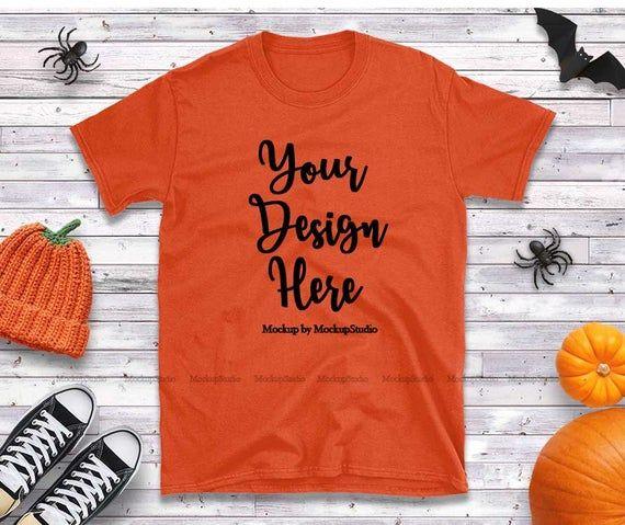 Free Gildan 64000 Halloween Orange T Shirt Mockup Fall Style Orange Psd Free Psd Mockups Smart Object And Shirt Mockup Mockup Free Psd Free Packaging Mockup