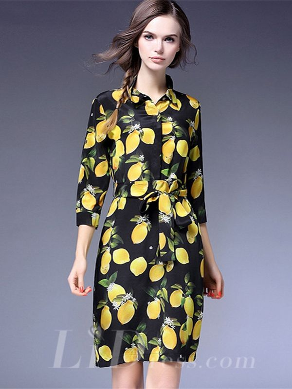 Spring 2016 Three Quarter Print Slim Short Dress