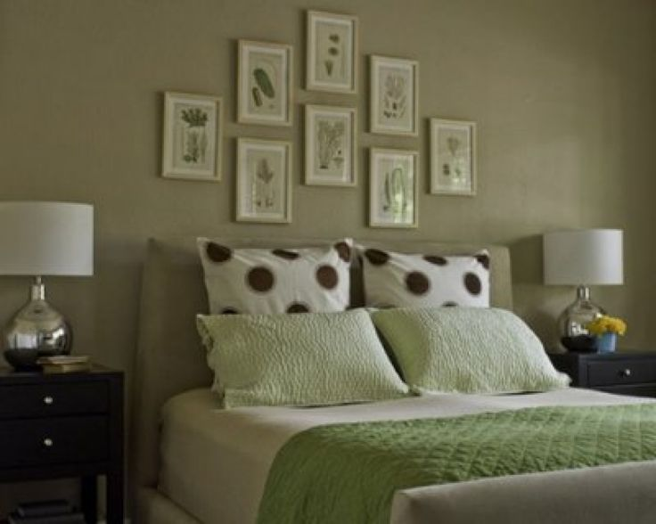 green painted wall green bed cover painted bedroom furniture some small wall photos 2 lampshades on nightstand