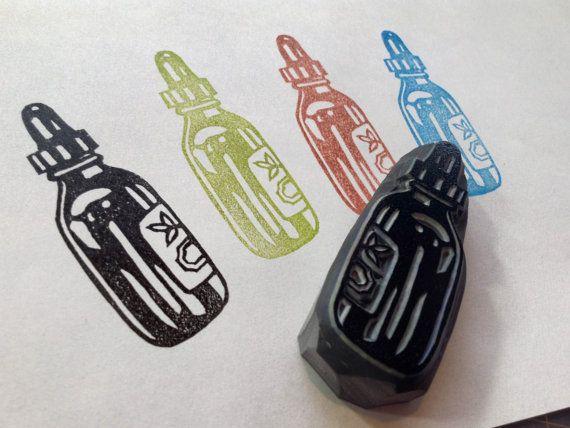Tincture bottle hand carved rubber stamp by HandCarvedStamps