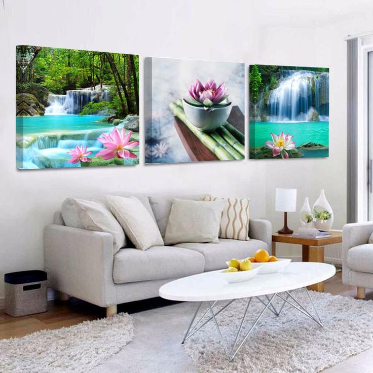 Lotus Waterfall Wall Painting Canvas Art Prints