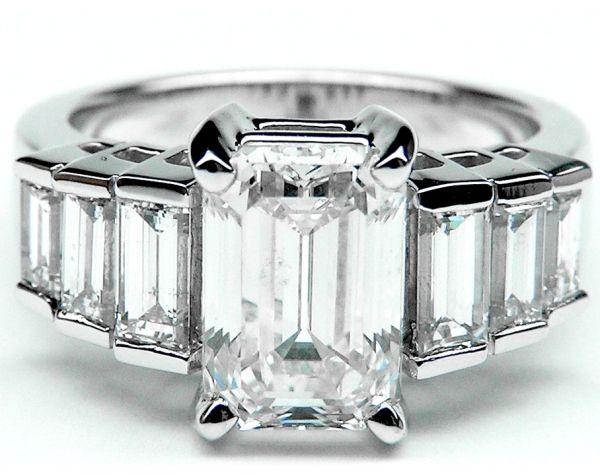 Emerald Cut Diamond Engagement Ring Step Up Baguettes Angelina Jolie